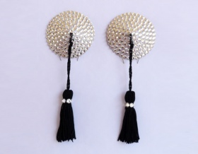 Swarovski Encrusted Pasties (Crystal with Black Tassels)