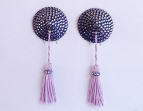 Swarovski Encrusted Pasties (Tanzanite with Pale Purple Tassels)