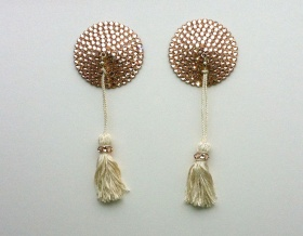 Swarovski Encrusted Pasties (Light Peach with Cream Tassels)