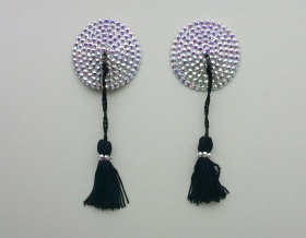 Swarovski Encrusted Pasties (Crystal AB with Black Tassels)
