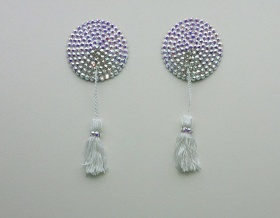 Swarovski Encrusted Pasties (Crystal AB with White Tassels)