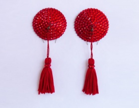 Swarovski Encrusted Pasties (Light Siam with Red Tassels)