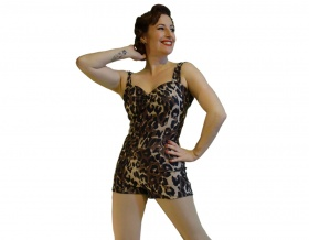 Hello Sweetheart Playsuit (Leopard Print)