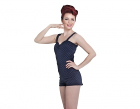 Hello Sweetheart Playsuit (Navy Spotted)