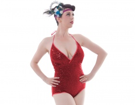 Sparkling Diamond Sequin Leotard (Red)