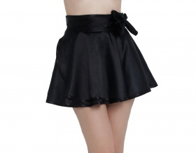 Flirty Birtie Black Satin Wrap Skirt